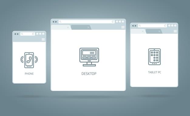 Internet responsywny dla przeglądarki windows. różne urządzenia.