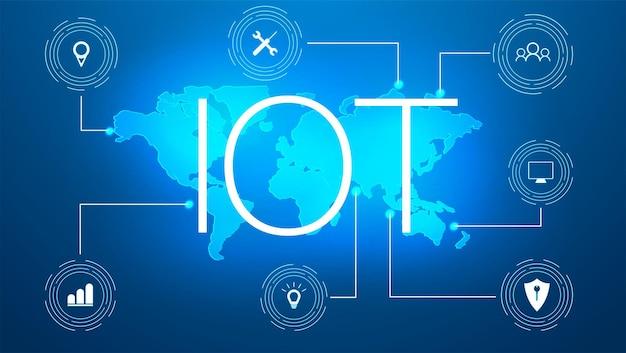 Internet rzeczy (iot) i koncepcja sieci dla podłączonych urządzeń. pajęczyna połączeń sieciowych z na futurystycznym niebieskim tle. znak innowacji. koncepcja projektowania cyfrowego. hologram iot