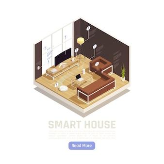 Internet rzeczy izometryczne wnętrze inteligentnego pokoju z routerem smart tv asystent głośnika domowego lampa podłogowa z pilotem ze smartfona