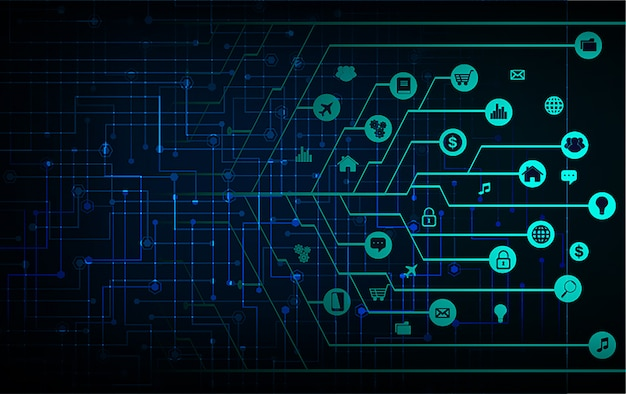 Internet rzeczy obwodu cyber technologii