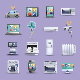 Internet rzeczy płaski zestaw ikon