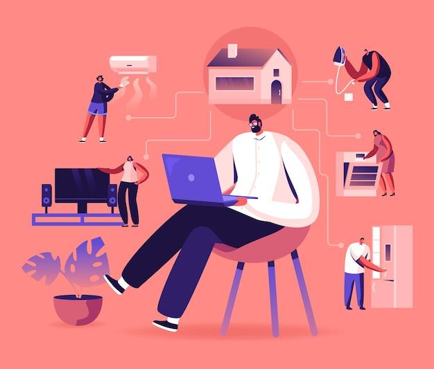 Internet rzeczy, połączenie sieciowe aplikacji smart home. płaskie ilustracja kreskówka