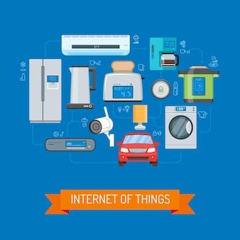 Internet rzeczy wektor ilustracja koncepcja w płaskiej konstrukcji