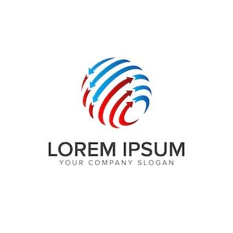 Internet Technologii Glob Logo Szablon Projektu Koncepcji Premium Wektorów