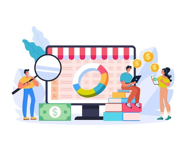 Internetowa analiza handlu internetowego w internecie marketing ilustracja koncepcja finansów