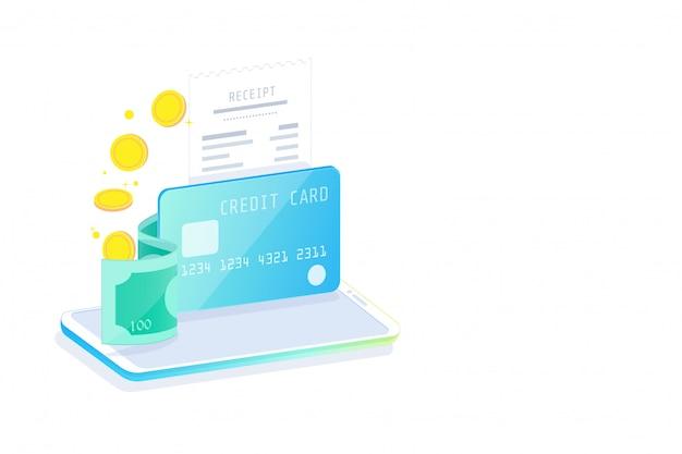 Internetowa bankowość mobilna i bankowość internetowa, koncepcja izometryczna, społeczeństwo bezgotówkowe, transakcja bezpieczeństwa za pomocą karty kredytowej.