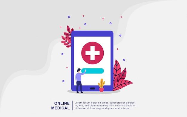Internetowa koncepcja medyczna. medycyna online wektor ilustracja koncepcja, lekarz i pielęgniarka dbanie o pacjenta. pojęcie opieki zdrowotnej. apteka internetowa. diagnoza medyczna w szpitalu. doktor online