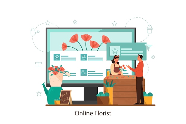 Internetowa kwiaciarnia i koncepcja kwiaciarni na ekranie komputera.