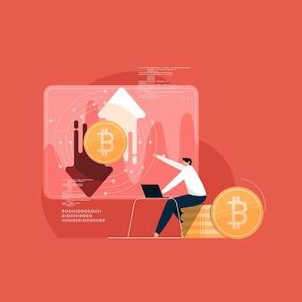 Internetowa platforma handlowa kryptowalutami do handlu cyfrowymi pieniędzmi w technologii cyfrowej inwestycji i zarabiania pieniędzy w internecie