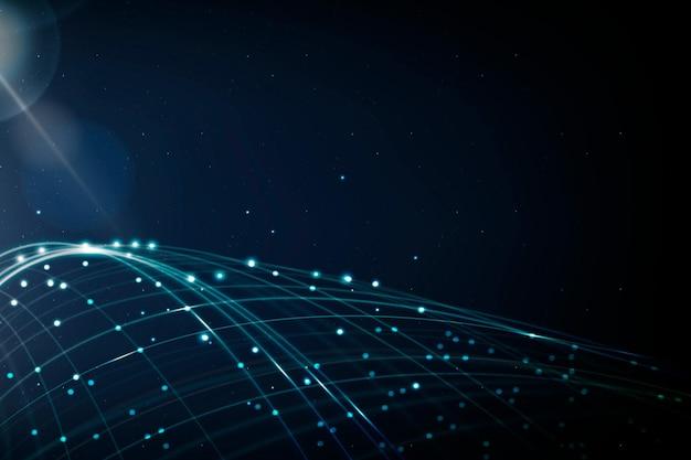 Internetowa technologia sieciowa tło wektor z niebieską falą cyfrową