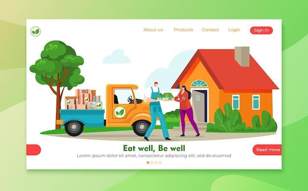 Internetowa usługa zakupów spożywczych dla ilustracji produktów warzywnych