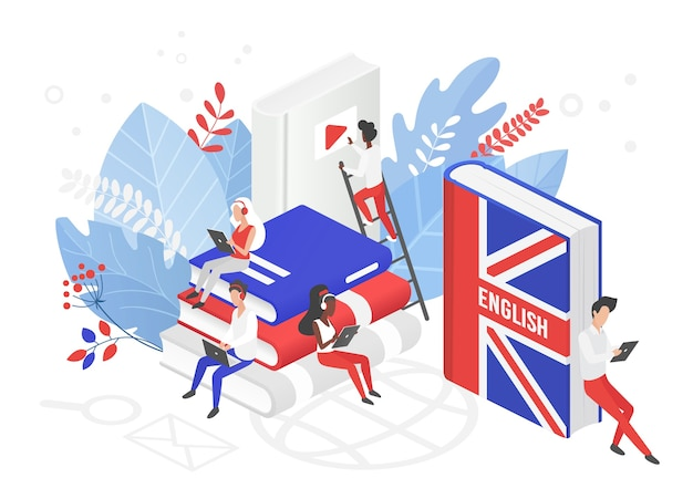 Internetowe kursy języka angielskiego w wielkiej brytanii izometryczna ilustracja 3d