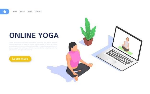 Internetowe kursy jogi. dziewczyna medytuje w pozycji lotosu