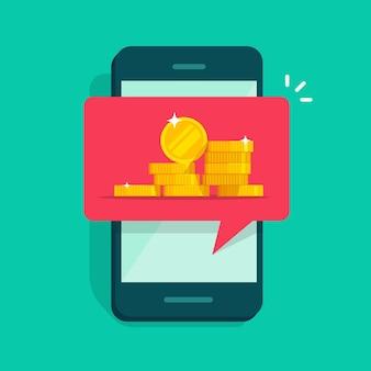Internetowe pieniądze cyfrowe otrzymujące powiadomienie na ilustracji telefonu komórkowego