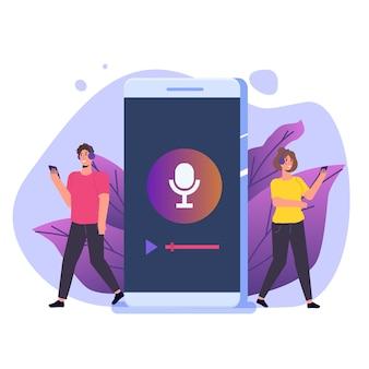 Internetowe przesyłanie strumieniowe radia online, aplikacje muzyczne, koncepcja podcastów online listy odtwarzania.