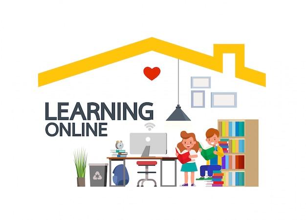 Internetowe zajęcia edukacyjne na odległość dla dzieci podczas koronawirusa. koncepcja dystansowania społecznego, izolacji i pozostawania w domu. dziecko postać wektor wzór.