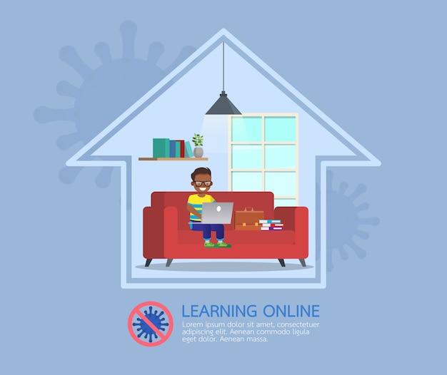 Internetowe zajęcia edukacyjne na odległość dla dzieci podczas koronawirusa. koncepcja dystansowania społecznego, izolacji i pozostawania w domu. nr 3