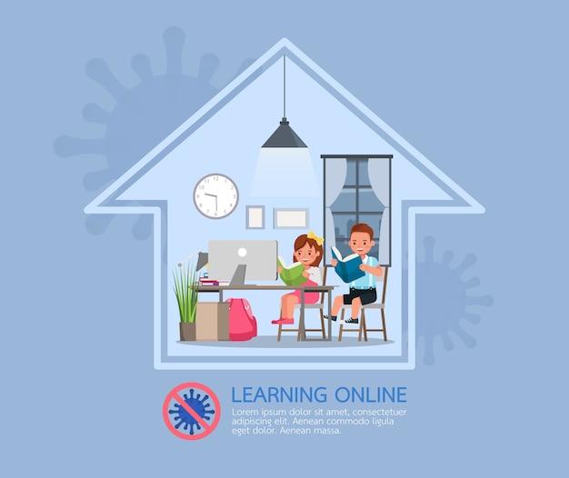 Internetowe zajęcia edukacyjne na odległość dla dzieci podczas koronawirusa. koncepcja dystansowania społecznego, izolacji i pozostawania w domu. nr 4