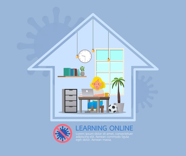 Internetowe zajęcia edukacyjne na odległość dla dzieci podczas koronawirusa. koncepcja dystansowania społecznego, izolacji i pozostawania w domu. nr 5