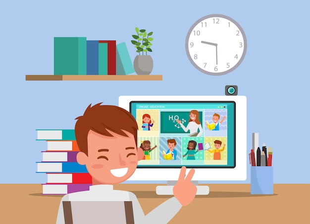 Internetowe zajęcia edukacyjne na odległość dla dzieci podczas koronawirusa. koncepcja dystansowania społecznego, izolacji i pozostawania w domu. numer 6