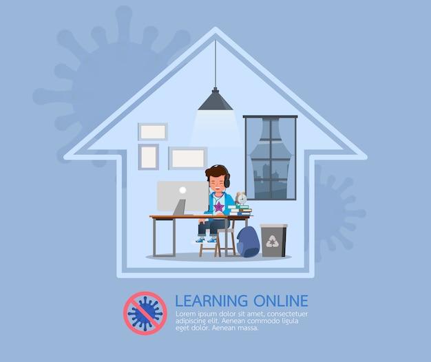 Internetowe zajęcia edukacyjne na odległość dla dzieci podczas koronawirusa. koncepcja dystansowania społecznego, izolacji i pozostawania w domu.
