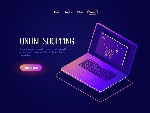 Internetowe zakupy internetowe ikona izometryczna, zakup strony internetowej, laptop ze stroną sklepu internetowego, ciemny laptop