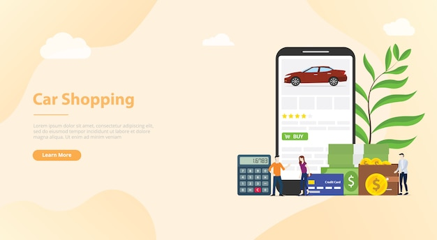 Internetowe zakupy samochodów technologia e-commerce dla banerów szablonów stron internetowych lub stron docelowych