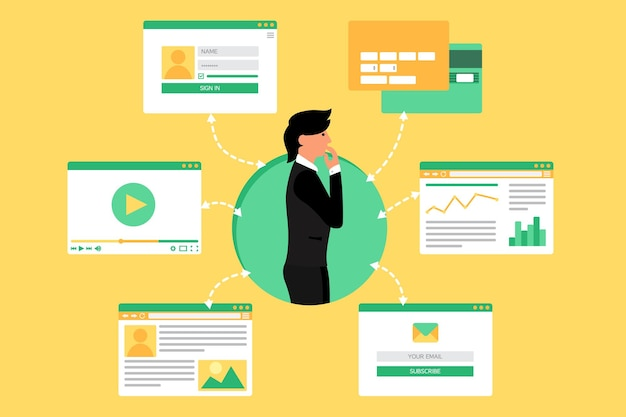 Internetowe życie biznesmena z wideo, bloga, sieci społecznościowych, zakupów online i poczty e-mail. graficzny interfejs użytkownika oraz formularze i elementy stron internetowych. wektor