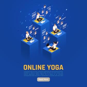 Internetowy baner izometryczny wirtualnej jogi