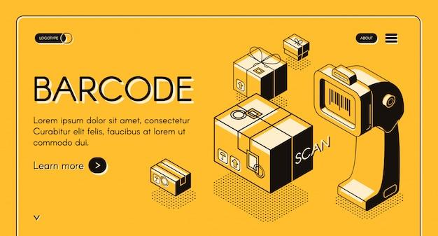 Internetowy baner lub strona izometryczna skanująca kody kreskowe izometrycznym czytnikiem kodów kreskowych, stacjonarnym laserem