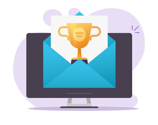 Internetowy e-mail z nagrodą w postaci cyfrowego prezentu internetowego otrzymany na ikonę wektora komputera