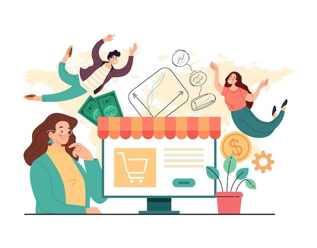 Internetowy handel internetowy biznes sprzedaży internetowej