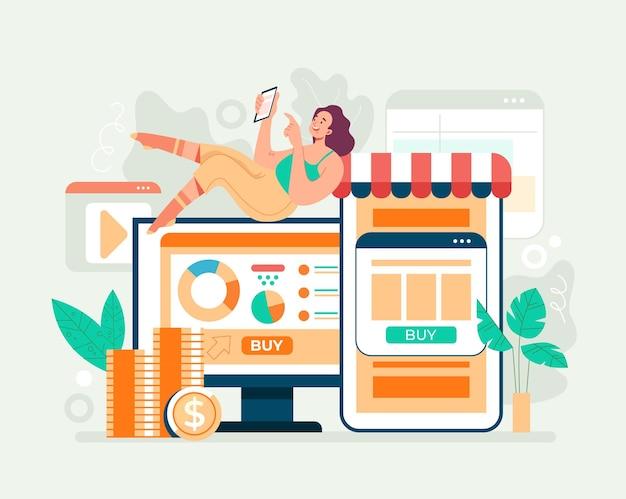 Internetowy handel internetowy zakupy w internecie koncepcja e-commerce. ilustracja kreskówka płaska