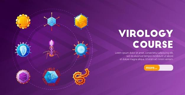 Internetowy kurs wprowadzający do wirusologii poziomy baner strony docelowej z kolorowymi ikonami wirusów fioletowymi