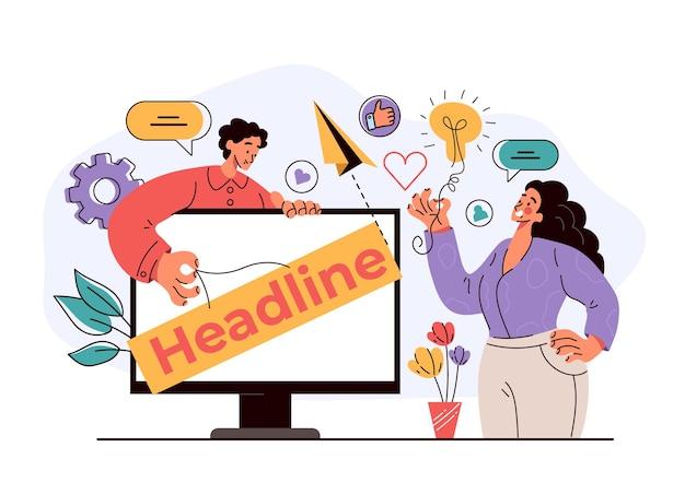 Internetowy nagłówek prezentacji internetowej na ekranie monitora komputerowego koncepcja płaski nowoczesny styl projektowania ilustracji