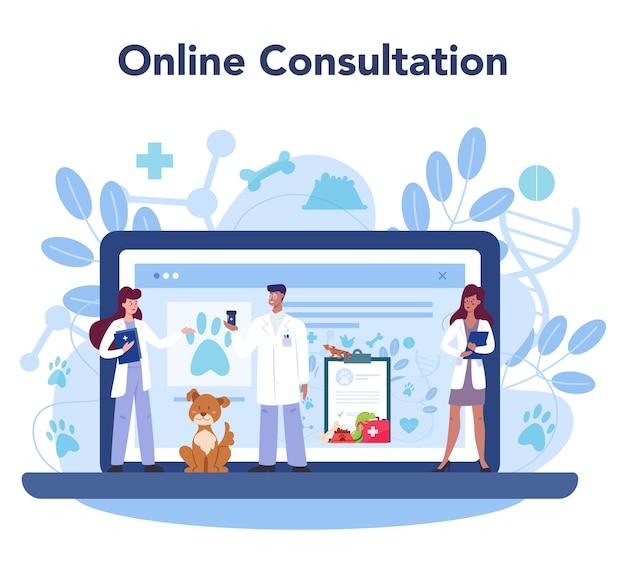 Internetowy serwis lub platforma weterynaryjna dla zwierząt domowych.