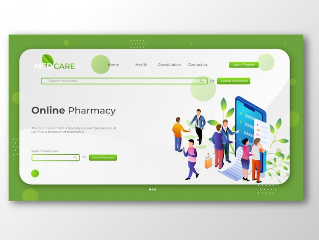 Internetowy sklep apteczny, koncepcja medycyny i opieki zdrowotnej dla onlin