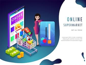 Internetowy supermarket lub koncepcja zakupów spożywczych.