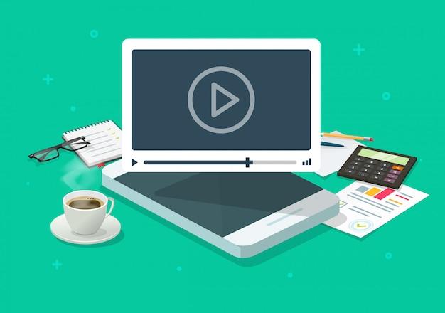 Internetowy wideo seminarium internetowe na telefonie komórkowym na pracującym biurko stole lub konferencyjnym smartphone wezwania pojęcia płaskiej kreskówce isometric