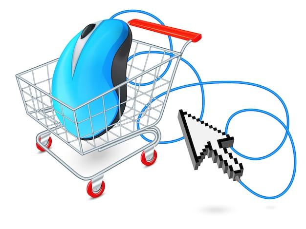 Internetowy wózek na zakupy pojęcie
