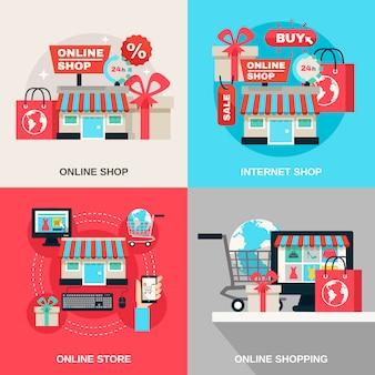 Internetowy zakupy dekoracyjny ikona set