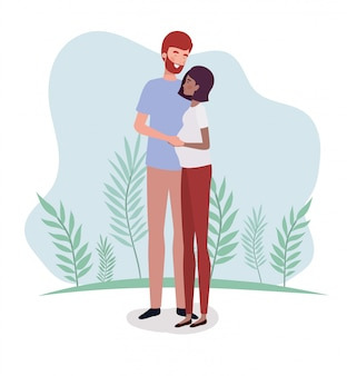 Interracialni kochankowie łączą postacie ciążowe w krajobrazie