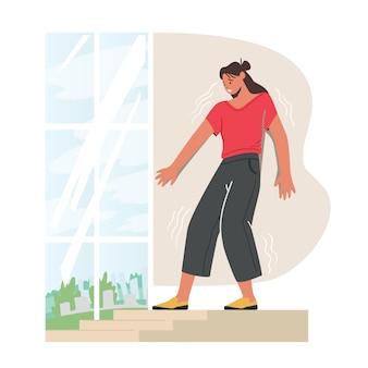 Introwersja, agorafobia, fobia w przestrzeni publicznej koncepcja psychologiczna. przerażona kobieta, która boi się opuścić dom, choroba