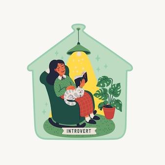 Introwertyk. koncept ekstrawersji i introwersji - młoda kobieta siedząca w fotelu z książką i kotem na kolanach, pod szklaną nakrętką. ilustracja w stylu kreskówka płaski na białym tle