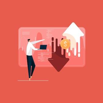Inwestor giełdowy kupujący i sprzedający akcje na giełdzie z analizą handlu na wykresie forex