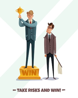 Inwestor, zwycięzca firmy przegrany, mężczyźni z dwoma męskimi postaciami biznesmenów podejmują ryzyko i wygrywają