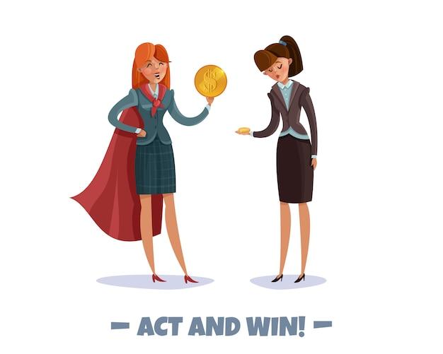 Inwestor zwyciężczyni biznesu przegrywająca postacie kobiet z tekstem i doodle obrazów stylowych kobiet w kostiumach