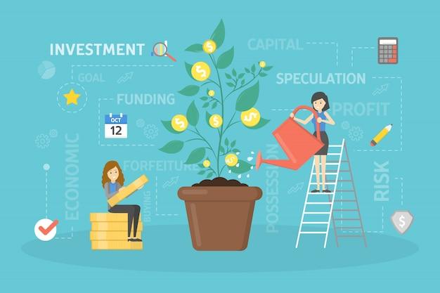 Inwestowanie ilustracja koncepcja.