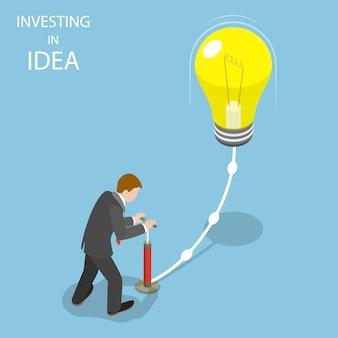 Inwestowanie w płaską izometryczną ilustrację pomysłu.