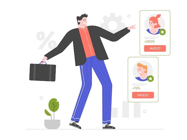 Inwestowanie w start-upy. biznesmen wybiera projekt inwestycyjny. innowacyjne pomysły i finansowanie społecznościowe. płaska ilustracja z charakterem.